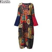ZANZEA Women Long Batwing Summer Splice Floral Print Shirt Dress Fashion 2017 O Neck Party Long