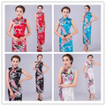 New Red/Blue/Black Traditional Chinese Elegant Women's Satin Long Cheongsam Qipao Sleeveless Flower Print Party Dresses