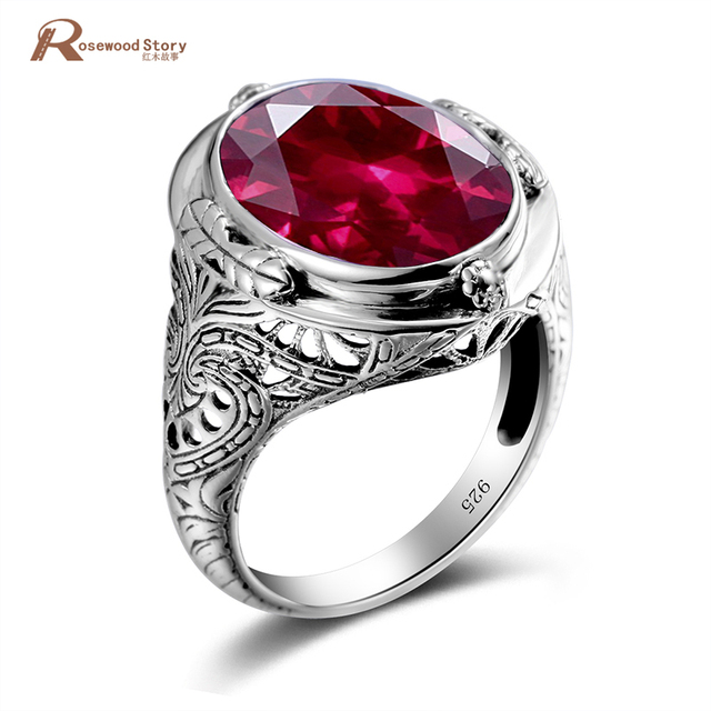 Genuine Unique Austrian 925 Sterling Silver Ring with Ruby Stones for Men Vintag
