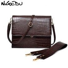 NIGEDU Mode Frauen Handtasche Luxus krokodil Leder Klappe Schulter Tasche für Weibliche umhängetaschen Große kapazität Totes kaffee