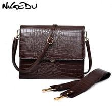 Nigeduファッション女性のハンドバッグ高級ワニ革フラップのショルダーバッグクロスボディバッグ大容量トートバッグコーヒー
