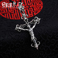 Beier new store 100% 925 thai silver sterling cross pendant necklace punk figure fashion jewelry free give rope A1835
