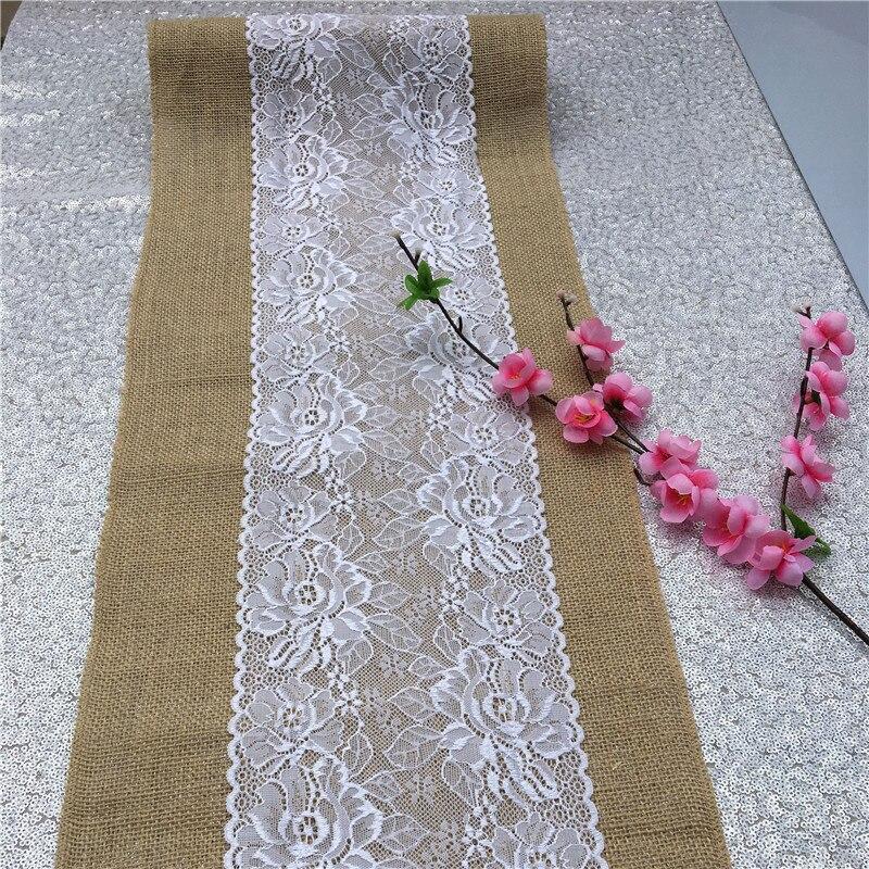 30*108CM Vintage Natural Burlap Jute Linen Table Runner Lace Cloth For Dinning Room Restaurant Table Gadget Home Decor