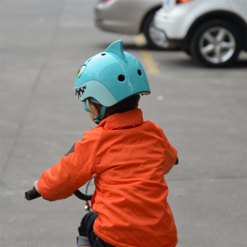 US $22 75 30% OFF|Childrens Bike Bicycle Helmet Children Sports Helmet 3D  Cartoon Shark Helmets for Skating Cycling Riding-in Bicycle Helmet from