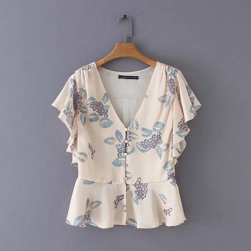 New Women Elegant V Neck Flower Print Casual Slim Blouse Shirts Women Summer Butterfly Sleeve Chic Blusas Chemise Tops LS3587