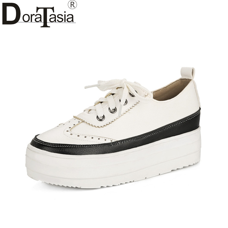 DoraTasia 2018 Spring Autumn New Arrival Brand Fresh Casual Platform Shoes Woman Lace Up Large Size 31-43 Fashion Women Shoes doratasia new women lace up good quality fashion sneakers flat platform shoes woman casual spring flats big size 31 43
