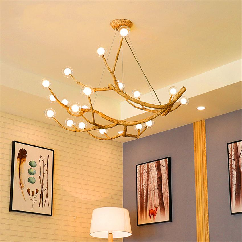 Nordic Retro LED Chandelier Lighting Design Light Glass Resin Branch Pendant Lamp Ceiling Lamparas Lustre Art Kitchen Fixtures