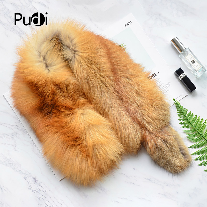 Pudi SF804 woman real fox fur   scarf   2018 new brand girl genuine fox fur   scarves     wrap   shawl   wraps   natural color