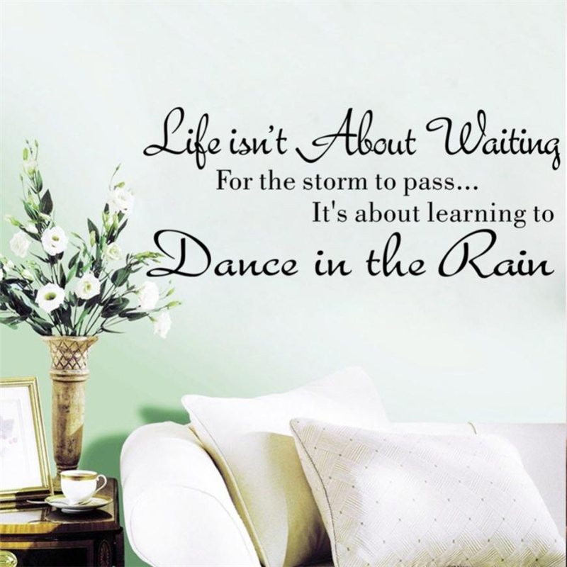 2018 New Fashion Life Isnt About Waiting Wall Stickers Quote Dancing in rain Wall Decal Words waterproof good quality hotC0211