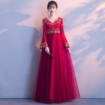 Red Classic Flower Dress Full Length V-Neck Party Wedding Dresses Noble Bride Toast Clothing Evening Gowns Vintage Cheongsam