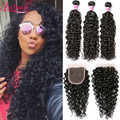 Brazilian Water Wave Virgin Hair 3 Bundles With Closure Wet And Wavy Human Hair Weaves Brazilian Virgin Hair Curly With Closure