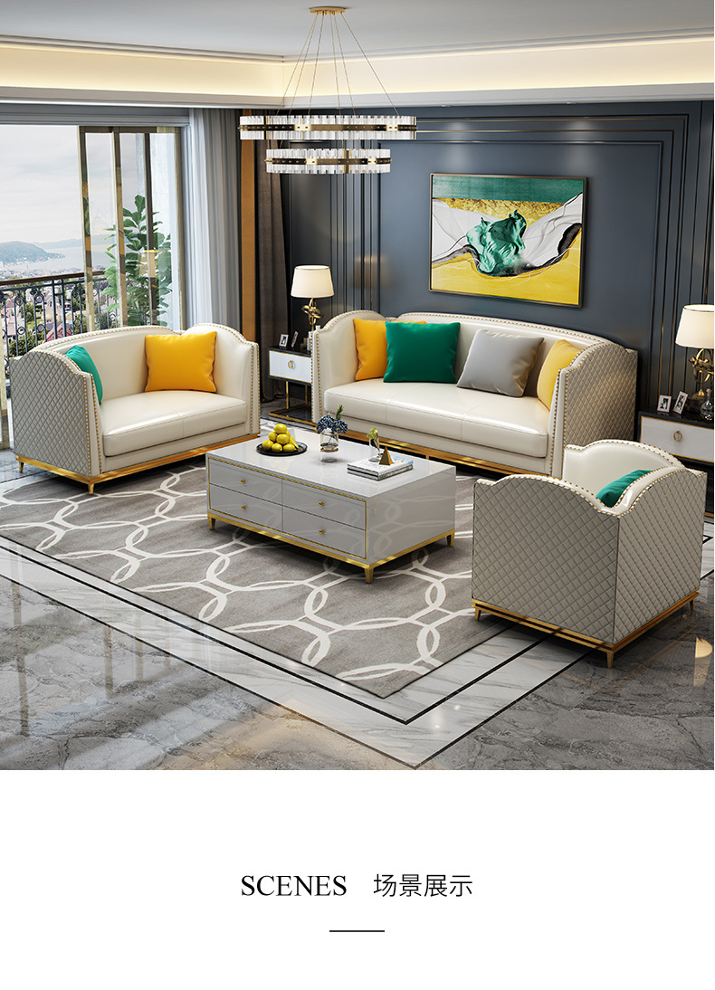 US $1280.0 |Post modern stainless steel light luxury sofa small apartment  corner Synthetic leather sofa-in Living Room Sofas from Furniture on ...