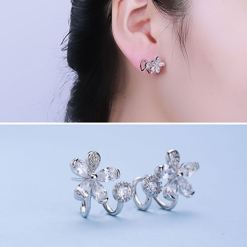 sale S925 pure silver C shape flower inlaid stud earrings A undertakes to fashion hot style tremella nail factory