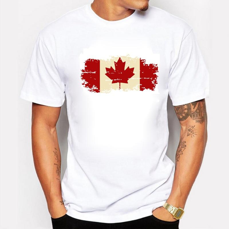 Kanada-Flaggen-Mode-T-Shirts 100% Baumwolle Kurzarm-T-Shirts - Herrenbekleidung