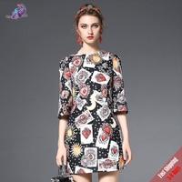 High Quality Fashion Designer Runway Autumn Dress 2017 New Women Half Sleeve Playing Card Printed Beading