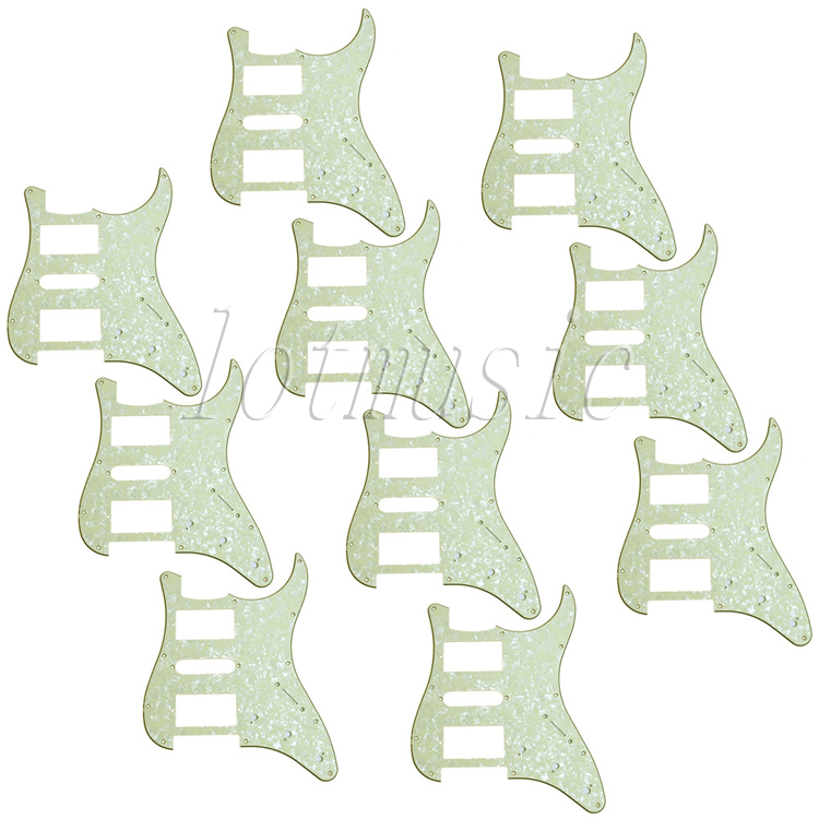 10Pcs Light Green Pearl HSH Guitar Pickguard for Electric Strat ST Replacement 3Ply 8pcs new cream hsh guitar pickguard for ibanez rg250 style replacement