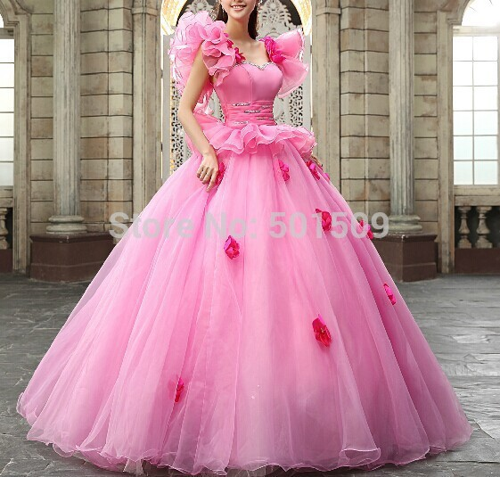 luxury rhinestone crystal embroidery ruffles decoration long medieval dress Renaissance Gown princess Victoria Marie Antoinette
