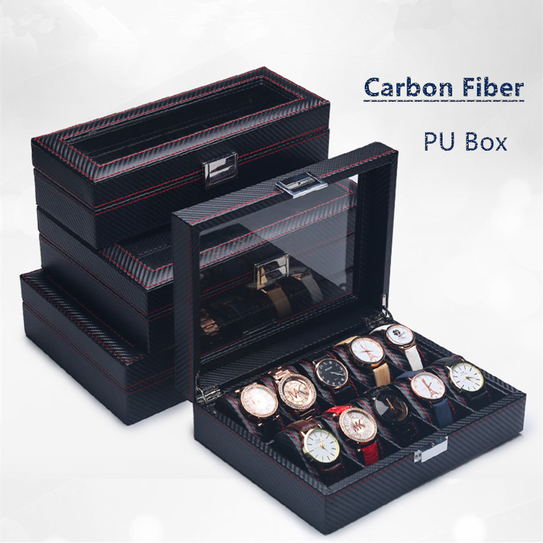 2018 Carbon Fiber Watch Box With Glass Fashion Black PU Leather Watch Storage Boxes New Watch And Jewelry Gift Display Case