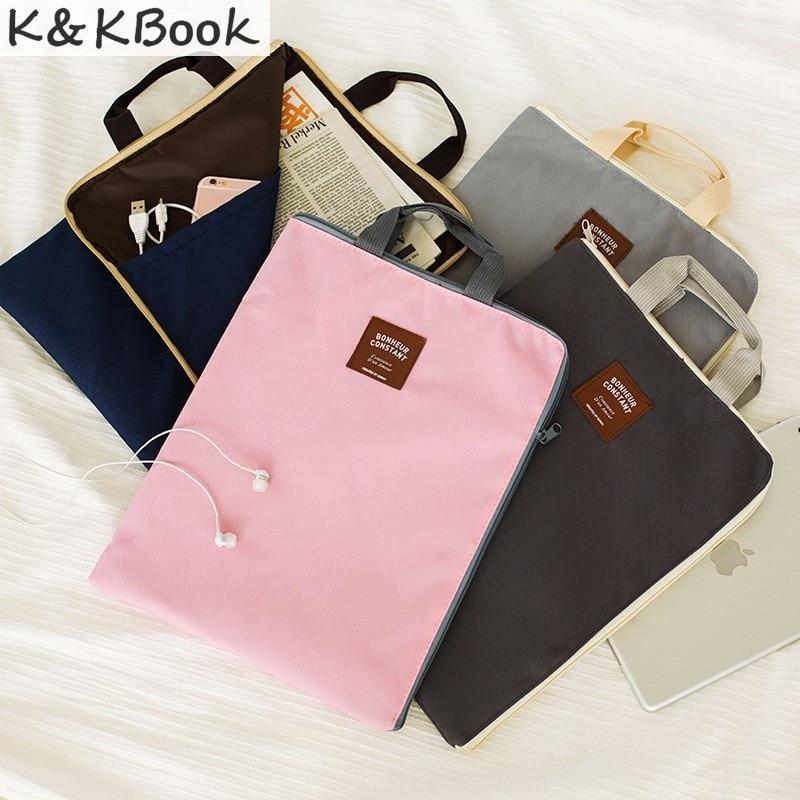 K&KBOOK New A4 Canvas File Folder Bag Office Supplies Organizer Bag Cartella Documenti Archivador Documentos Document Organizer