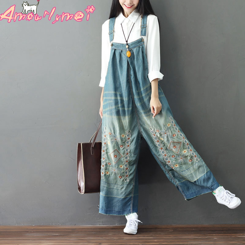 Women Denim Jumpsuits 2019 Mori Girl Vintage Embroidery Wide Leg Jean Overalls Female Loose Large Size
