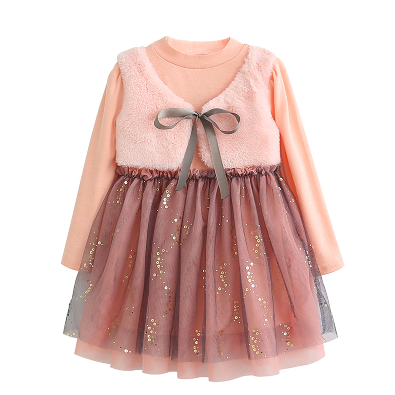 Kids Clothes Dress 2017 New Autumn Fashion Style Children Long-Sleeve Mesh Dress For Girls Princess clothes 3-7Y Dresses 2016 new autumn girls costume european&american style kids dress for girls fashion lace floral child long sleeve dress