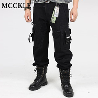 MCCKLE Men's Camouflage Cargo Pants Fashion Man Pants Multi Pockets Black  Army green Army Camo Cargo Trousers Male