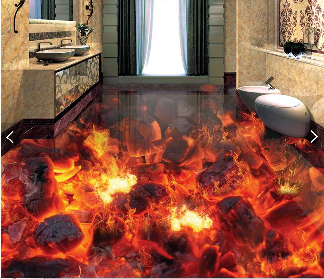 3 d pvc flooring custom waterproof picture 3d Flame burning coals of fire 3d bathroom flooring photo 3d wall murals wallpaper 3d flooring waterproof wall paper custom 3d flooring wooden bridge water self adhesive wallpaper vinyl flooring bathroom