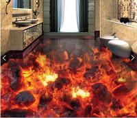 3 d pvc flooring custom waterproof picture 3d Flame burning coals of fire 3d bathroom flooring photo 3d wall murals wallpaper