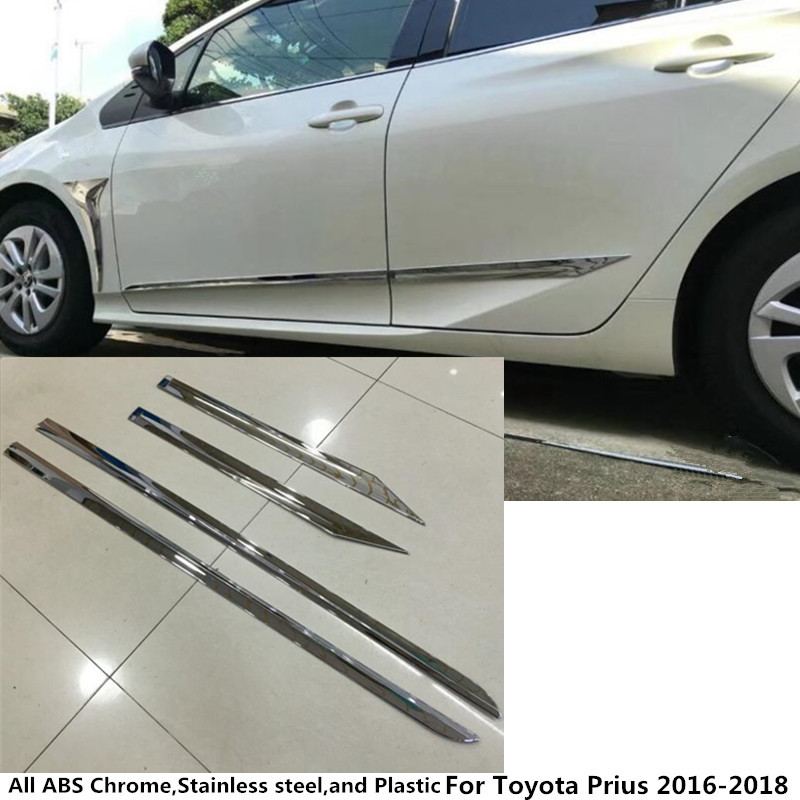 For Toyota Prius 2016 2017 2018 car styling cover Stainless  Side bottom Door trim frame sticks Strips Molding 4pcs 4pcs stainless steel side door body molding cover trim for bmw x5 f15 2014 2015 car accessories