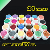24 Pearl Colors UV Gel Nail Tips Fine Shiny Cover French Manicure DIY Set