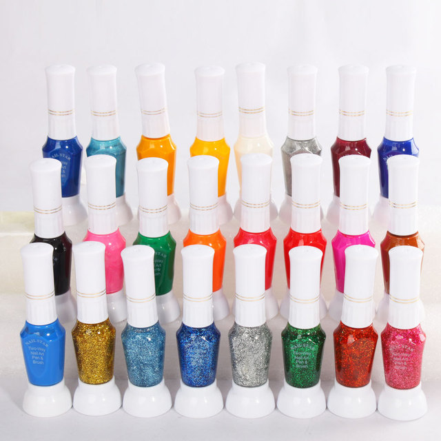 Colorful Nail Art Striper Pen 24pcs/lot 2 Way Nail Polish Glitter ...