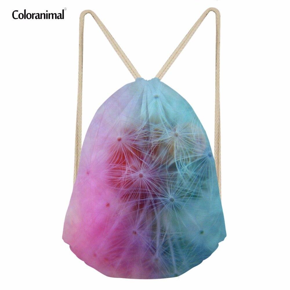 Coloranimal 2018 Dandelion Print Sack String Backpack Youth Girl Small Mochila Drawstring Bag Woman Shopping Shoulder Back Pack