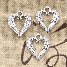 20 штук шармы в форме сердца с «крыльями ангела» 19x17 мм антикварные