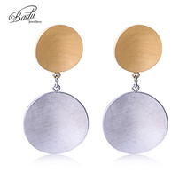 Badu Gold Stainless Steel Earrings For Women Child Rose Color Frosted Double Round Earring Stud 2017 Original Jewelry