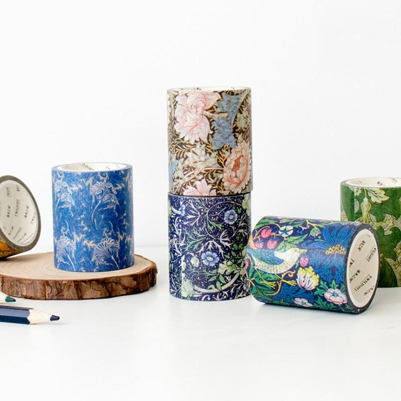 1 Pcs Cartoon DIY Cartoon Paper Washi Masking Tapes William Morris Decorative Adhesive Tape Stickers School Supplies