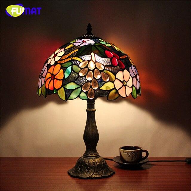 FUMAT Table Lamps Stained Glass Lamp led light Bedside Study Pastoral Living Room Bar Table Lights Christmas home Desk lights