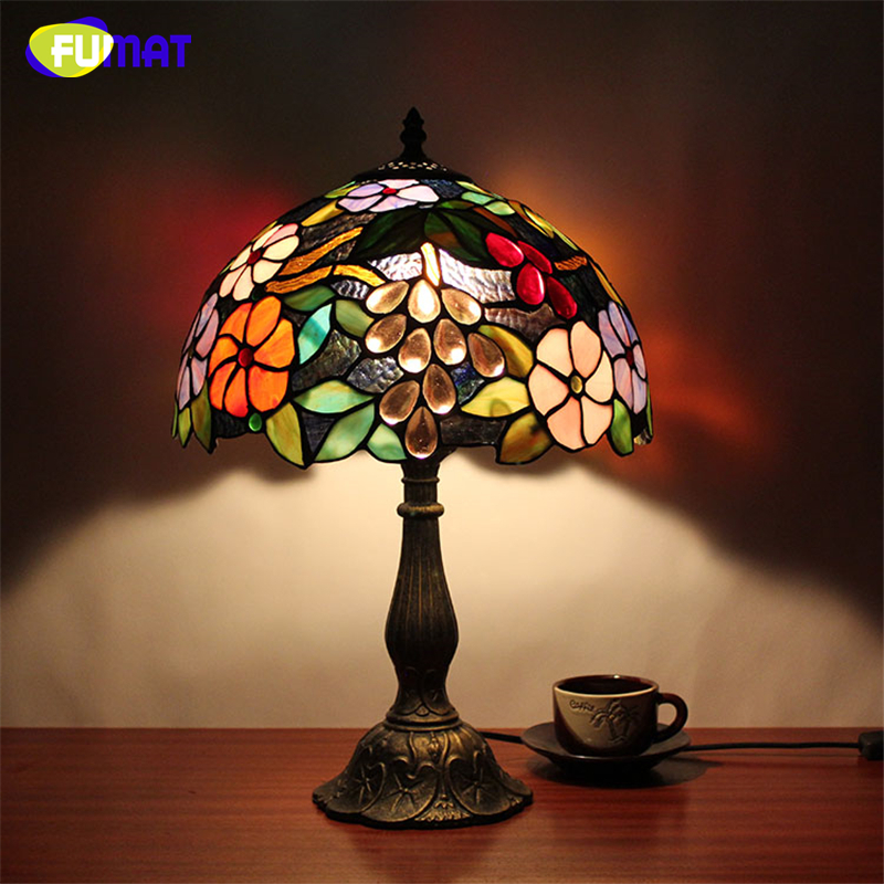 FUMAT Table Lamps Stained Glass Lamp led light for Bedside Study Pastoral Living Room Bar Table Lights Christmas home lights