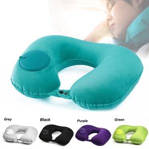 Image 2 - U Shape Travel Pillow Neck Pillow Car Air Inflatable Pillows Neck Cushion Travel Headrest Folding Portable Car Accessories