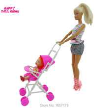One Set Pink Assembly Baby Stroller Trolley Nursery Furniture Toys Accessories For Barbie Kelly Size Doll 1 : 12 Puppet Gift Toy