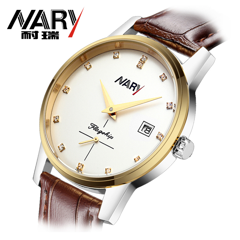 Hot 2016 NARY Luxury Brand Business Men s Automatic Skeleton Mechanical Military Wrist watchMen full Leather