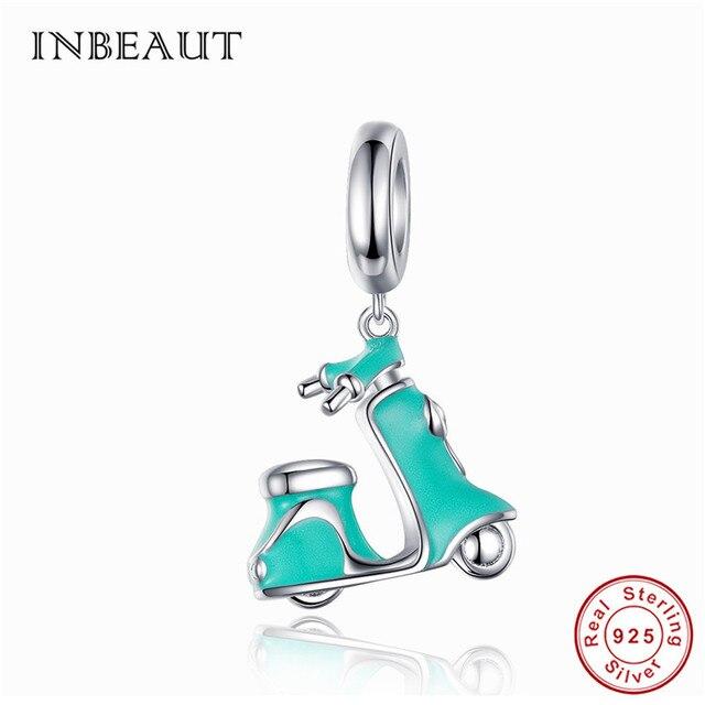 INBEAUT 100% prawdziwe 925 srebro niebieski emalia skuter elektryczny Charms śliczne Motobike koraliki fit bransoletka Pandora prezent biżuteria