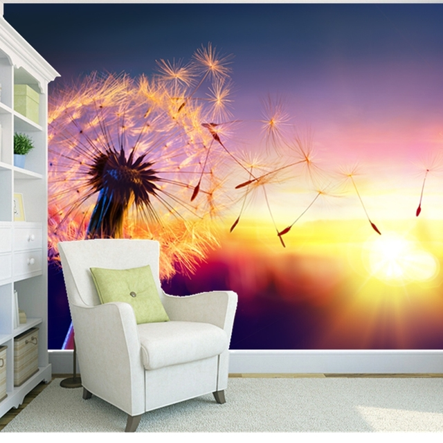 Custom Natural Scenery Wallpaper Dandelion Photo Mural For Living Room Bedroom Restaurant Backdrop PVC