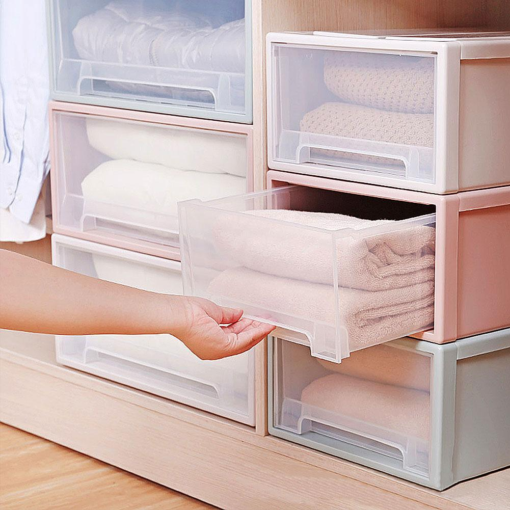 Household Plastic Transparent Stackable Drawer Storage Box Container Organizer Set