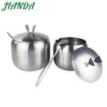 ФОТО JIANDA Seasoning Box Magnetic Stainless Steel Spice Jar Kitchen Flavor Cans Pepper Salt and Sugar Bottle