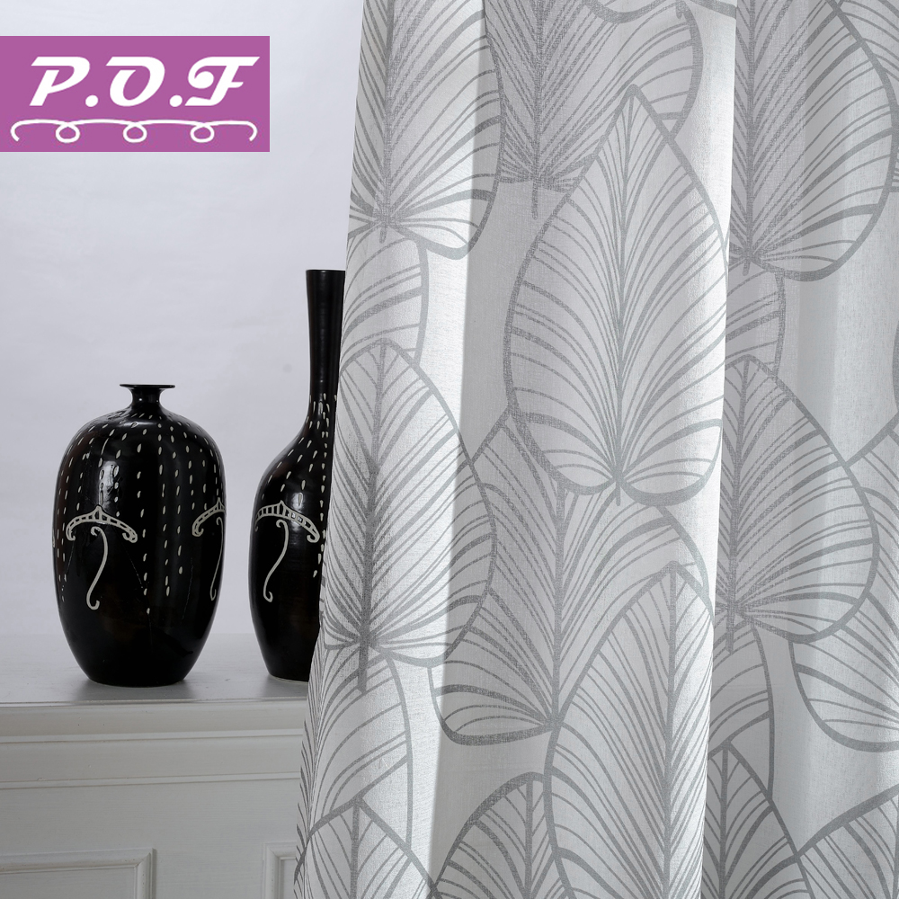 P.O.F New Season Printed Leaves Curtains For Living Room Window Treatment Sheer Home Decor Tulle