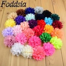 Foddsia 30 шт./лот модная 30 цветов 7 см Ткань шифон в цветочек с плоской задней стороной для девочек ручная работа, сделай сам, ремесло аксессуары для волос F01