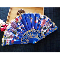 Free Shipping 10pcs Fresh Flower Color Lace Fan Size 23cm Plastic Dance Fan for Dancing Party and Wedding