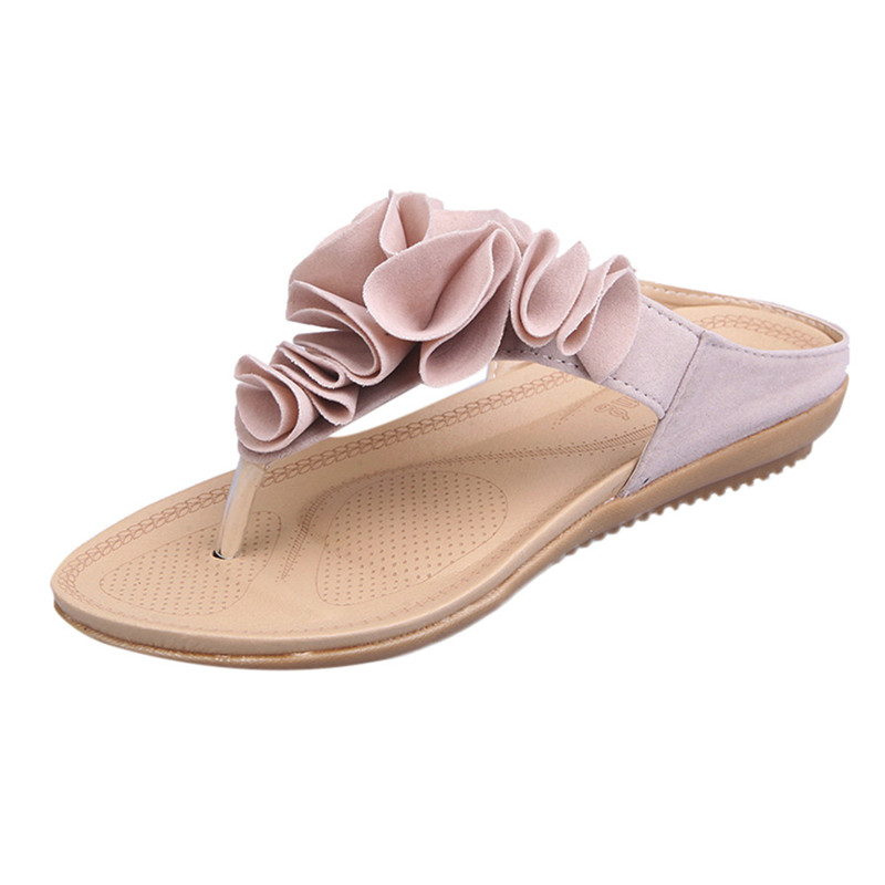 Most Popular Women's Summer Beach Flip Flops Casual Flat Shoes Lady Pretty Floral Decoration Sandals Soft Bottom Sandles schuhe romanson часы romanson tl0393mj wh коллекция gents fashion