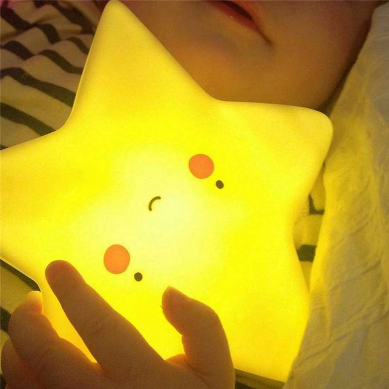 Cute LED Night Light Toy Star Smile Face Soft Vinyl For Baby Kids Bedroom Home Decoration Nursery Lamp