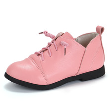 Spring Autumn baby girl Casual leather shoes Childrens students leisure Girl Lacedshoes black white red 3-16years